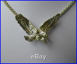 Solid 14K Gold American Eagle Pendant with Diamond