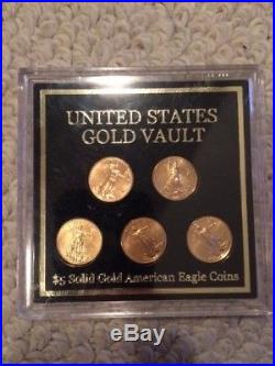 Solid Gold American Eagle $5 Coins Set Of 5 United States Gold Vault