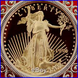 US 1996 1/10 oz Gold American Eagle Gem BU Unc Proof Coin 14K Gold Necklace NEW