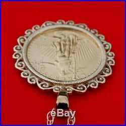 US 2018 1/10 oz Gold American Eagle Gem BU Unc Coin 14K Gold Necklace NEW