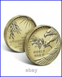 V75 Silver + End of WW2 75th Anniversary 24K Karat Gold Coin + Silver Medal SET