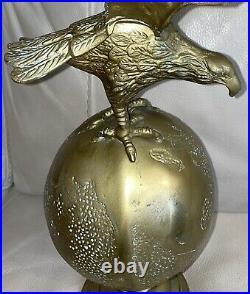 Vintage 23 Brass American Eagle On Globe Federal Flag Pole Topper Finial