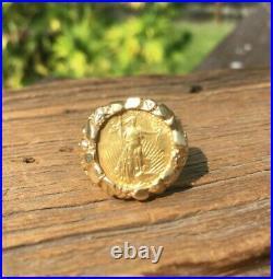 Vtg 14k 1/10 $5 Five dollar Gold American Coin Eagle Mens Nugget Ring Size 9.25