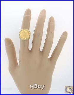 Vtg. Estate 14k Yellow Gold $5 Dollar 1/10 Oz American Eagle Gold Coin Ring Y8