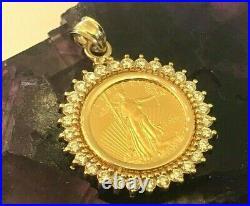 Xmas 2020 Gold American Eagle 14-kt Gold 1-carat Diamond Bezel -$1099.88