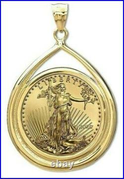 Xmas Gift 2020 $5 Gold American Eagle Gem 14-kt Teardrop Bezel $418.88